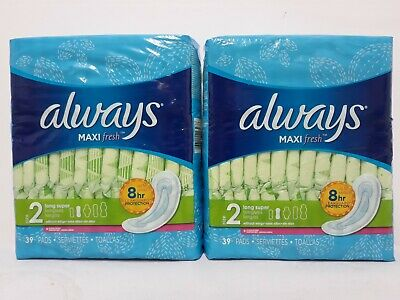 Always Maxi Fresh Size 2 Long Super 39 Pads W/o Wings Up To 8 Hour Protection