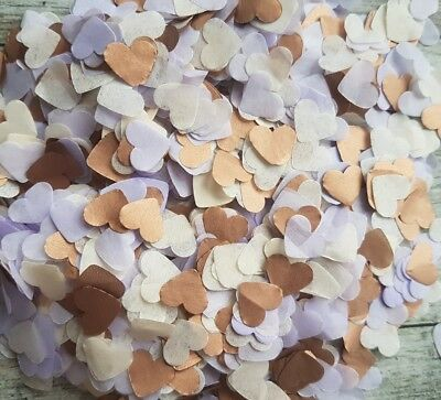 Copper (Rose Gold),ivory,lavender Lilac Hearts Confetti Wedding/2 Handfuls