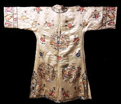 Antique Vintage Chinese Silk Embroidery Art Deco Robe Coat Embroidered Beautiful