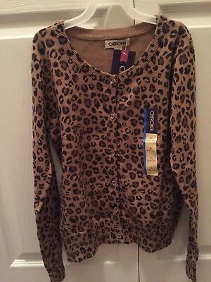 74cafe2cd NWT Girl s Cherokee Leopard Print Cardigan Sweater Size L ...