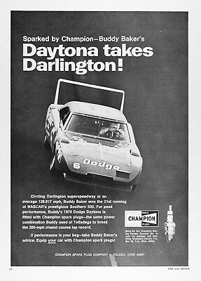 1971 CHAMPION DODGE DAYTONA SUPERBIRD Vintage Advertisement ~ BUDDY BAKER