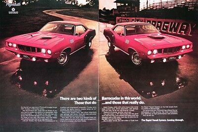 1971 PLYMOUTH BARRACUDA HEMI Genuine Vintage Advertisement ~ 440-6bbl