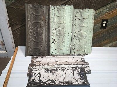 "5pc Lot of 24""- by 11"" Antique Ceiling Tin Vintage Reclaimed Salvage Art Craft"