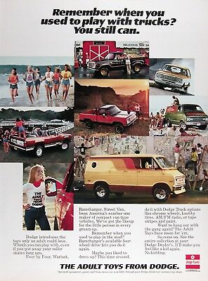 1977 DODGE VANS & TRUCKS Genuine Vintage Advertisement ~ RAMCHARGER WARLOCK VANS