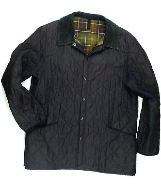 Barbour Mens Diamond Quilted Blue Jacket Size 2XLarge