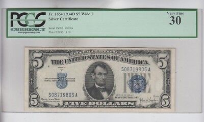 Silver Certificate $5 1934-D wide I  PCGS Graded vf