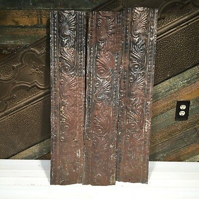 """3pc Lot of 36"""" by 7"""" Antique Ceiling Tin Vintage Reclaimed Salvage Art Craft"""