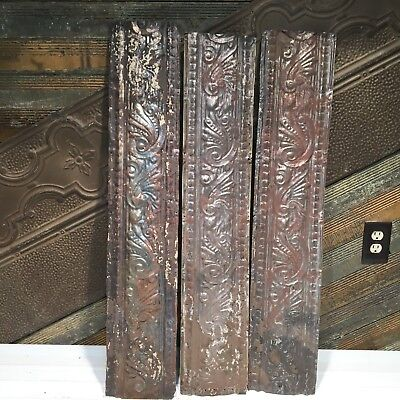 "3pc Lot of 36"" by 7"" Antique Ceiling Tin Vintage Reclaimed Salvage Art Craft"