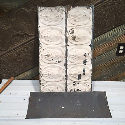 """3pc Lot of 30"""" by 8 1/2"""" Antique Ceiling Tin Vintage Reclaimed Salvage Art Craft"""
