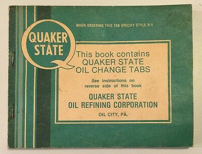Vintage 1950s Quaker State Oil Change Tabs Style R-1 Service Record