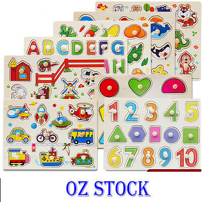 2018 KIDS WOODEN PUZZLE JIGSAW Alphabet Animal Number EDUCATIONAL Pre-school