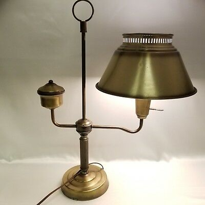Electric Student Desk Lamp Table Top Milk Glass Shade Metal Antique Brass Tone 2
