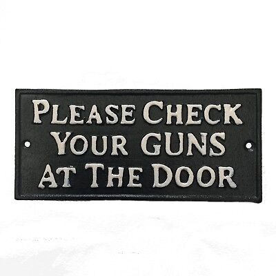 """Cast Iron Wall Plaque """"CHECK YOUR GUNS"""" Cowboy Country Western Man Cave"""