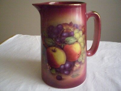 "Vintage Ceramic Jug Burgundy Colour Fruit Motifs ""made In England"" Decorative"