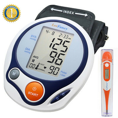 Automatic Arm Blood Pressure Monitor BP Cuff Machine Gauge Tester + Thermometer