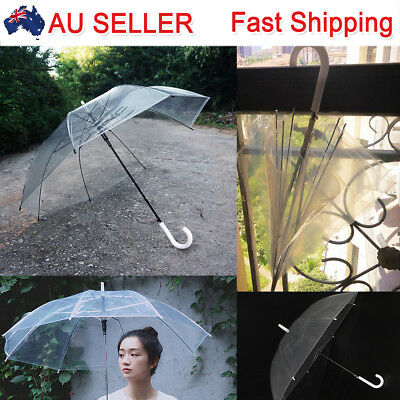 2X Fashion Transparent Clear Umbrella Dome Automatic Parasol For Wedding Favor