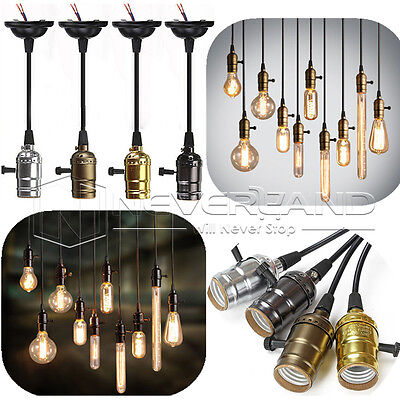 E27 Retro Antique Edison Style Pendant Light Bulb Socket Lamp Holder UK New Base