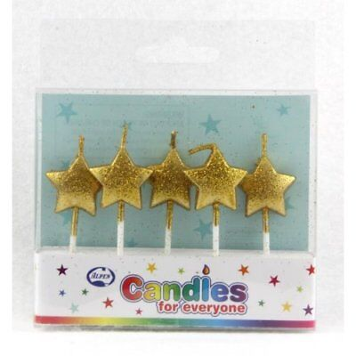 Star Glitter Gold Candles Pack Of 5 Birthday Party Supplies Cake Topper