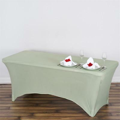 Reseda Green 6 ft RECTANGLE SPANDEX STRETCH TABLE COVER Fitted Tablecloth
