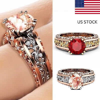 Gorgeous Women Sterling Silver Wedding Engagement Ring Fashion Flower Jewelry US