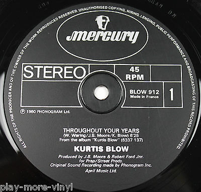 "KURTIS BLOW Throughout Your Years/Christmas Rappin 12"" France 80 BLOW912 playsNM"