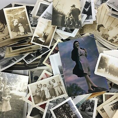 400+ Old Photos Lot BW Vintage Photographs Snapshots 20's Thru 50's Lot #2