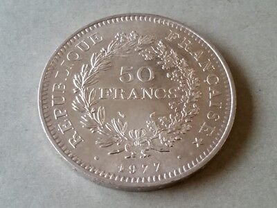 FRANCE 1977 Excellent 50 FRANCS SILVER COIN XF REPUBLIQUE FRANCAISE
