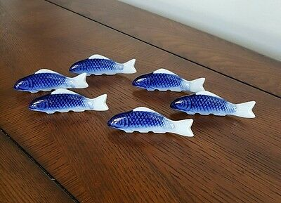 Set of 6 Oriental Asian Chopstick Holders Rests Blue and White Porcelain Fish