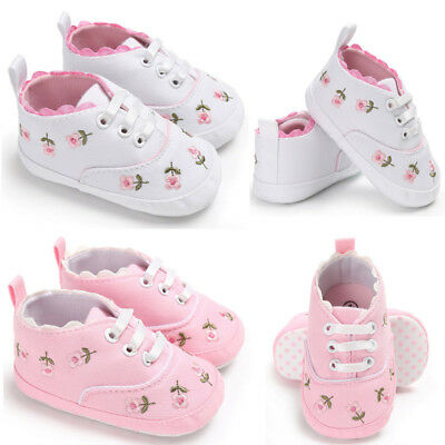 Newborn Baby Girls Walker Soft Sole Anti-slip Shoes Trainers Sneakers Canvas New