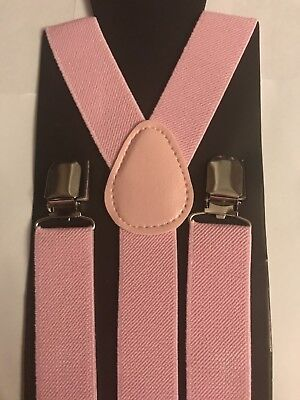 NEW! PALE PINK Kids to Small Adult SUSPENDERS Elastic Y-Back Braces PALE PINK
