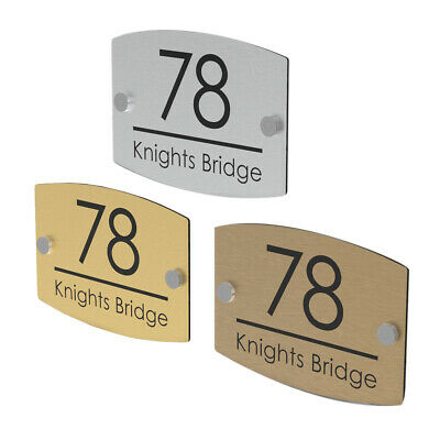 House Number Plaques Door Sign Street Name Wall Plate - Gold Silver Bronze