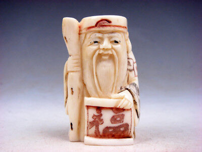Bone Detailed Hand Carved Japan Netsuke Sculpture Old Man Cane Scroll #01301806