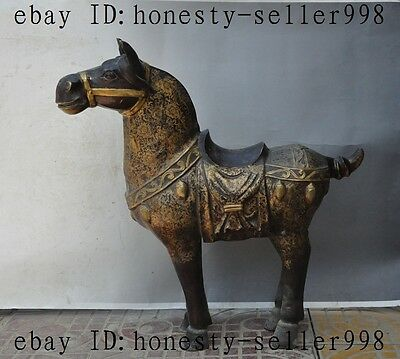 "27""Old China Fengshui Bronze Success Animal Zodiac Tang Horse Statue sculpture"