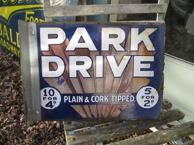 ANTIQUE ENAMEL SIGN DOUBLE SIDED PARK DRIVE 1930s with wall bracket