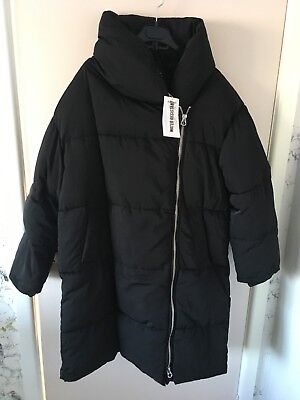 dbe74472a BNWT ZARA BLACK Long Puffer Coat With Crossover Zip Size L