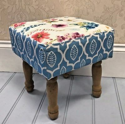 Shabby Chic Style Floral Fabric Footstool Wooden Bench Hallway