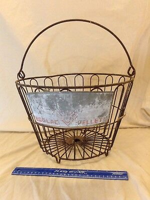 Old VTG Farm wire basket MasterMix Feeds HENS LAY MORE EGGS - EGGLAC Pellets