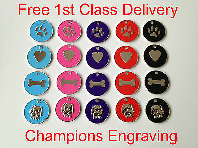 Pet ID Dog Tag  25mm Enamel Disc - FREE ENGRAVING/ FREE P&P -Posted within 24hrs