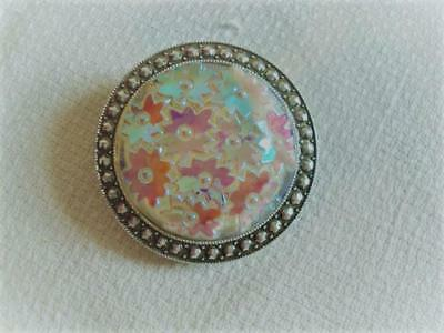 Vintage Molded Glass Iridescent Flowers Scarf Ring Clip Silver Tone Germany B