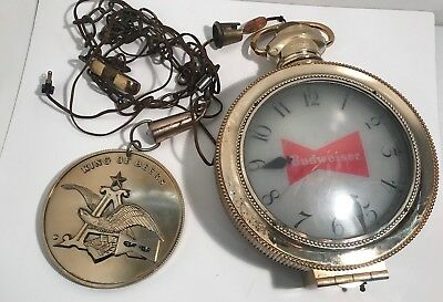 Vintage Budweiser Pocket Watch Clock With Chains