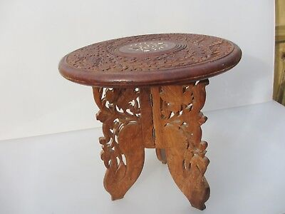 """Small Carved Wooden Table Moroccan Planter Stand Indian Holder Floral    12""""W"""