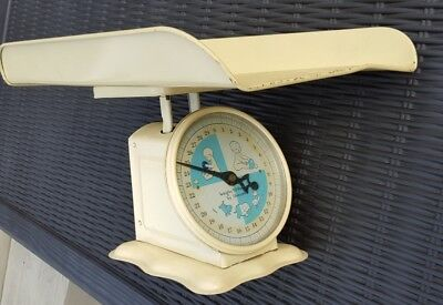 Antique Vintage Baby Infant Weigh Weight Scale 1950's 1960's Yellow Blue