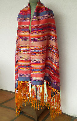 Vintage Hand Loomed Brilliant Color Shimmering SILK Mexican REBOZO SHAWL Scarf