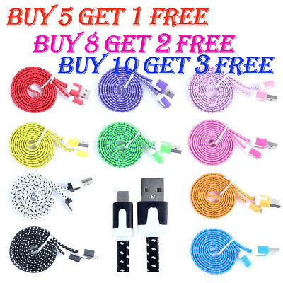 Flat Braided USB Charger Lightning Cable Data Cord For iPhone 6 6s 7 8 Plus X mr