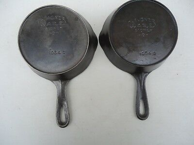 Pair Of Wagner Ware Sidney Cast Iron # 4 Skillets With Heat Rings  * NICE *