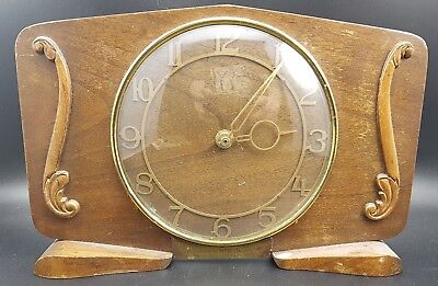 Vintage Wooden Electric Mantle Clock For Restoration, c 1950s