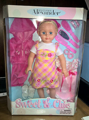 """Madame Alexander ~ Sweet & Chic ~ 18"""" Doll ~ Blonde Girl 3 Outfits ~ 2007 ~ New!"""