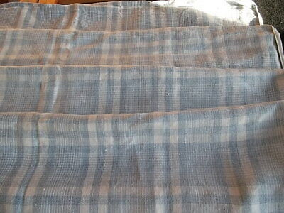 French antique home spun linen hemp kelsch cutter pale blue white checks c. 1880