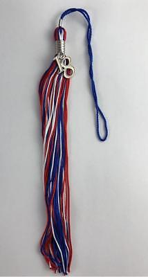 NEW Red White & Blue Class of 2018 With Charm Jostens Graduation Tassel 9""