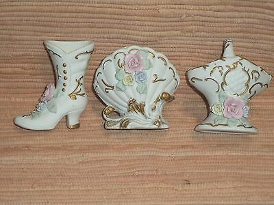 Victorian curio china floral Boot,Shell,Basket figurines/potpourri holders